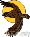 brown hawk flying across a yellow moon gif, png, jpg, eps