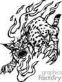 flaming wildcat in black and white gif, png, jpg, eps