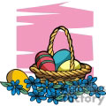 Handled Easter Basket Full of Decorative Eggs Surrounded by Blue Flowers