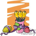 easter eggs tied with purple ribbon tulips in a pink vase gif, png, jpg