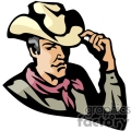 a cowboy wearing a red bandana tipping his cowboy hat gif, png, jpg, eps