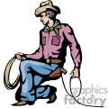 A Kneeling Cowboy Holding a Rope