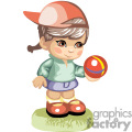 little girl in a baseball cap holding a red striped ball gif, png, jpg, eps