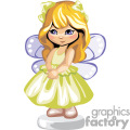 a little blonde girl with a lime green dress and purple wings