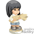 a little black haired girl holding wheat