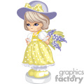 A Small Girl in a Yellow Polka Dot Dress Holding a Purple Flower Bouquet behind Her Back