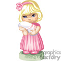 a little girl dressed all in pink holding a wrapped baby gif, png, jpg, eps