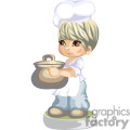 A little boy chef carrying a pot