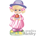 a little girl in a pink dress and purple hat holding an apple  gif, png, jpg, eps