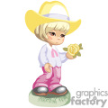 A Little Blonde Girl in Western Wear Holding a Single Yellow Rose