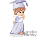 Little Girl Wearing a Light Blue Graduation Gown and Cap