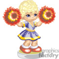 cute little cheerleader holding pom poms