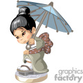 small asian girl holding an umbrella