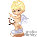 A Little Blonde Angel Holding his Bow and Arrow Pointing