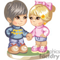 cute little girl and boy holding hands