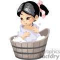 oriental girl bathing in a barrel