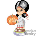 native american girl holding a pumpkin for thanksgiving