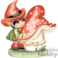 elf little boy hugging a big mushroom  gif, png, jpg, eps