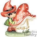 Elf little boy hugging a big mushroom