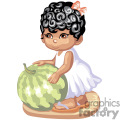 Little Girl in White Touching a Watermelon