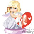 A Little Girl in White with Wings Holding a Red and White Heart