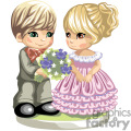Cute little boy giving blue flowers to a little girl dressed in pink