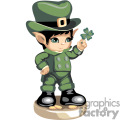 a little leprechaun boy holding a four leaf clover gif, png, jpg, eps