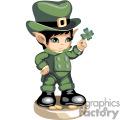A little leprechaun boy holding a four leaf clover