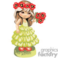 a little girl with a lime green dress holding and wearing red tropical flowers