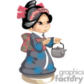 Small asian girl holding a teapot