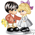 Little boy giving a little girl flowers