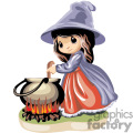 A little witch girl stirring her pot