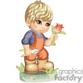 A little boy gardener cutting tulips