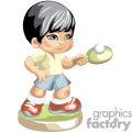 Black haired little boy playing ping pong