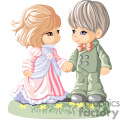 Little Boy and Girl in a Dress and a Suit Holding hands