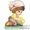a little girl planting tulips with her gardening clothes on gif, png, jpg, eps