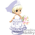 little girl dressed as a bride wearing a veil and holding a bouquet gif, png, jpg, eps