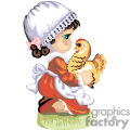 Little pilgrim girl holding a chicken