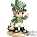 Child leprechaun carrying a pot of gold