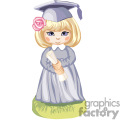 a little girl in a graduation cap and gown holding her diploma gif, png, jpg, eps