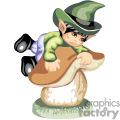 A kid leprechaun climbing on a mushroom