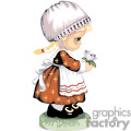 Girl with an apron and a bonnet holding flowers