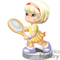 a little blonde girl in a yellow tennis dress holding a racket