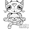 black and white cartoon cat