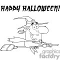 happy Halloween witch flying on her broom