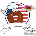 3486-Cartoon-Logo-Friendly-Donut-Chef-Cartoon-Character-Holding-A-Donuts-In-Front-Of-Flag-Of-USA