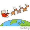 3342-Team-Of-Reindeer-And-Santa-In-His-Sleigh-Flying-Above-The-Globe