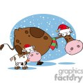 mom and baby cow wearing santa hats gif, png, jpg, eps, svg, pdf