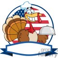 3512-Turkey-Chef-Serving-A-Platter-Over-A-Circle-And-Blank-Banner-In-Front-Of-Flag-Of-USA