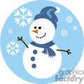 happy snowman with blue scarf